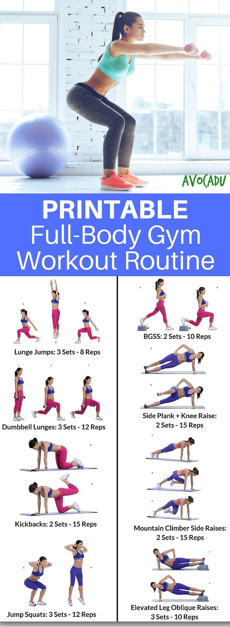 This printable workout routine comes with easy-to-follow workout cards and photo instructions for all of the exercises! It also includes beginner fitness tips to help you get results FAST! https://avocadu.clickfunnels.com/sales-pagenz5uremc