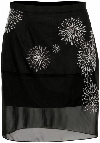 Black Pencil Skirt with Sheer Bottom in Black by fbudi, hand stitched details