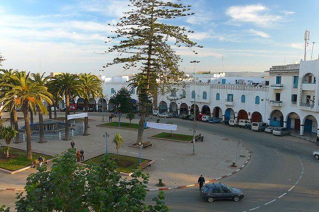 Place de la Liberation, Larache, Morocco. Seen from a balcony of Hotel Espana.
