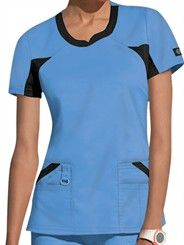 Dickies Performance System Womenu0027s V Neck Knit Panel Scrub Top. Scrubs  UniformNurse ScrubsCeil Blue ...