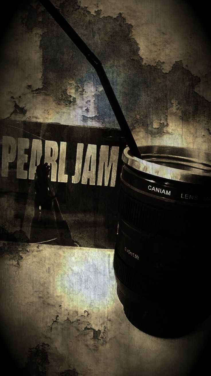 Pearl Jam and coffee in a lens mug...