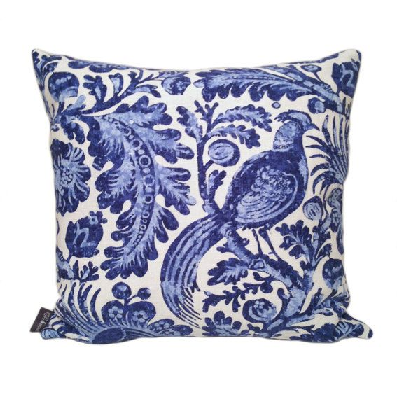 Delft Blue Cushion Cover Cover in Porcelain by PearTreeHome on Etsy https://www.etsy.com/listing/259981149/delft-blue-cushion-cover-cover-in
