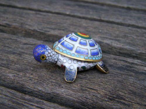 antique cloisonne turtle trinket box