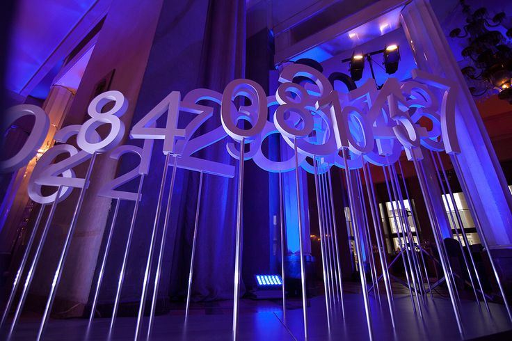 60th Anniversary of Polish National Lottery Gala Dinner. Magical place - Grand Theatre in Warsaw filled by huge digits, deep blue flowers and lights, by artsize.pl