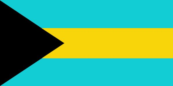The flag of the Bahamas was officially adopted on July 10, 1973.           The black color represents the strength and will power of the people, yellow the sandy beaches, and the aquamarine blue symbolizes the Caribbean Sea.