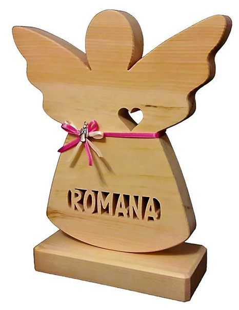 Schutzengel Zirbe mit ausgesägten Namen, Geschenke zur Geburt oder Taufe für Mädchen und Jungen – Walli Bus