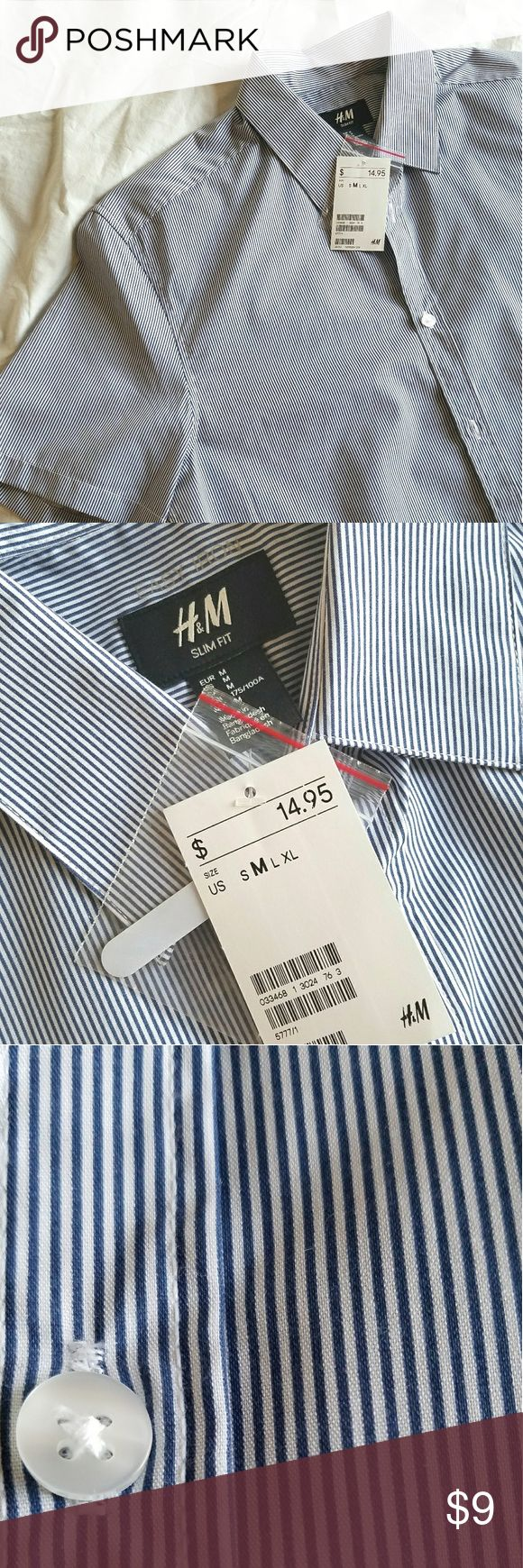 NWT H&M Men's Slim Fit Short Sleeve Button Down NWT H&M short sleeve slim fit button down. Blue and white striped, easy iron, medium. H&M Shirts Casual Button Down Shirts