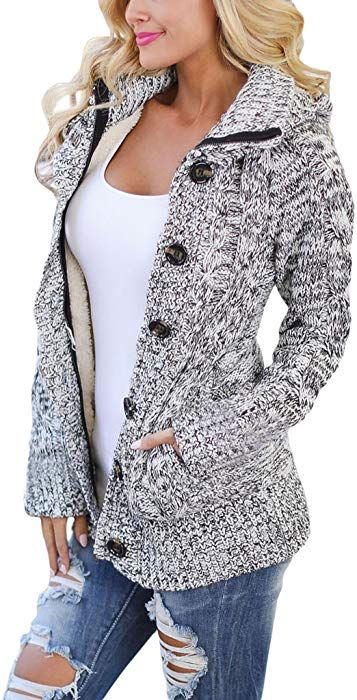 baa0879ac408 Sidefeel Women Hooded Knit Cardigans Button Cable Sweater Coat Large Grey  at Amazon Women s Clothing store