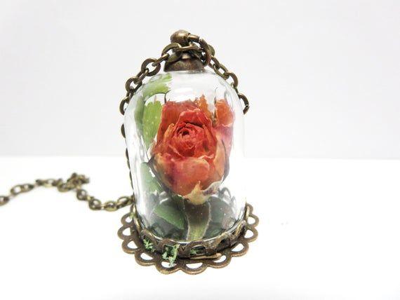June Flower Necklace Pink Rose Necklace Real Rose Necklace Etsy June Flower Birth Month Flowers Rose Buds