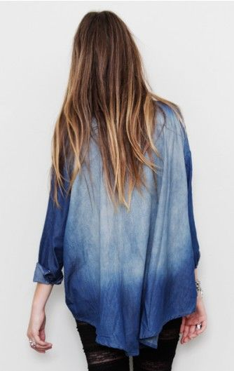 ombre: Hair Colors, Dips Dyed, Jeans Shirts, Blue, Dips Dyes, Ombre Hair, Denim Fashion, Denim Shirts, Ties Dyes