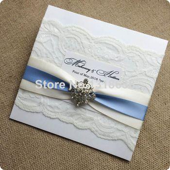Elegante invitaciones de boda del cordón bolsillo cuadrado Fold invitación de la boda tarjeta conjunto con tarjeta de RSVP y sobre, modificado para requisitos particulares disponible