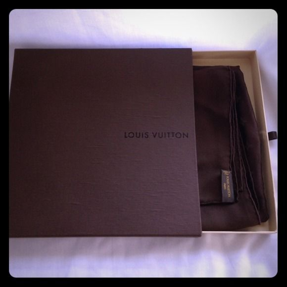"AUTHENTIC Louis Vuitton Monaco Square Scarf Genuine, delicate, brown square scarf. Never worn, kept in box (included) in a smoke free, pet free home.  Measurements: 35.4 x 35.4"". 100% Silk. Additional pics available. No trades. Louis Vuitton Accessories Scarves & Wraps"