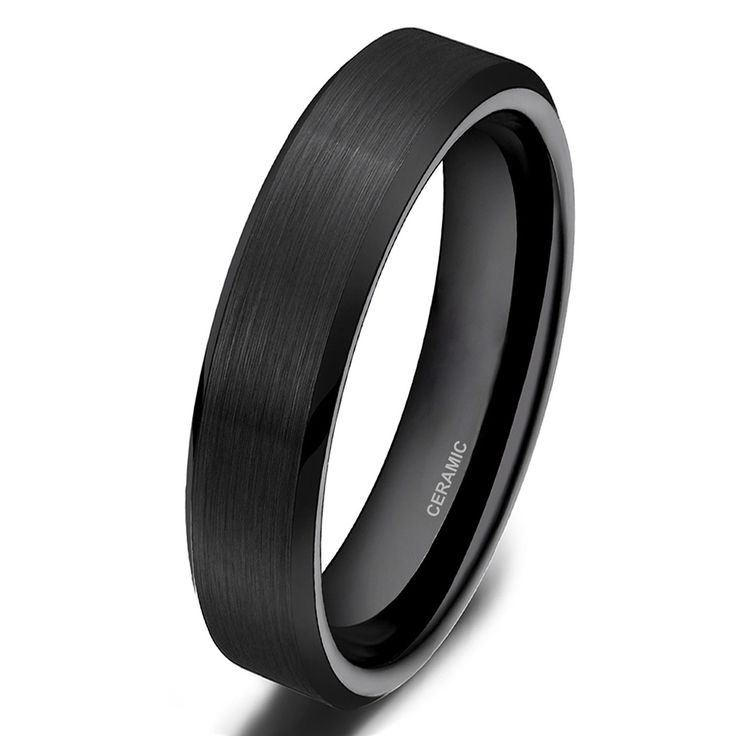 High Quality 4mm Classic Black Ceramic Ring Men Cool Wedding Engagement Band Men Jewelry Promotion anillo negro bague ceramique