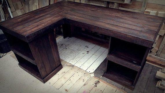 Handmade Recycled Pallet Corner Desk Left Hand Corner Hands Etsy And Corner Desk