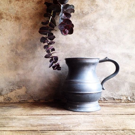 French Antique Pewter Tankard Pewter Mug. Antique by LaClariere