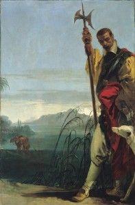 Giambattista Tiepolo, Alabardiere in un paesaggio, 1736, Olio su tela, 205 x 132 cm