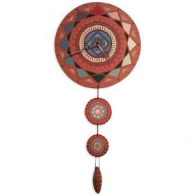 Ceramic clock mandala mod. Consuelo.  Ceramic Round clock with mandala drawing engraved pendulum consists of two small mandala and a drop, colored with lands, fired at 980 degrees.