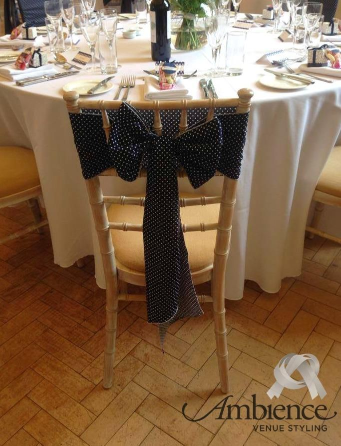 #Chiavari Chair Styling With #navy And White Polka Dot Sash  #ambiencebristol #wedding