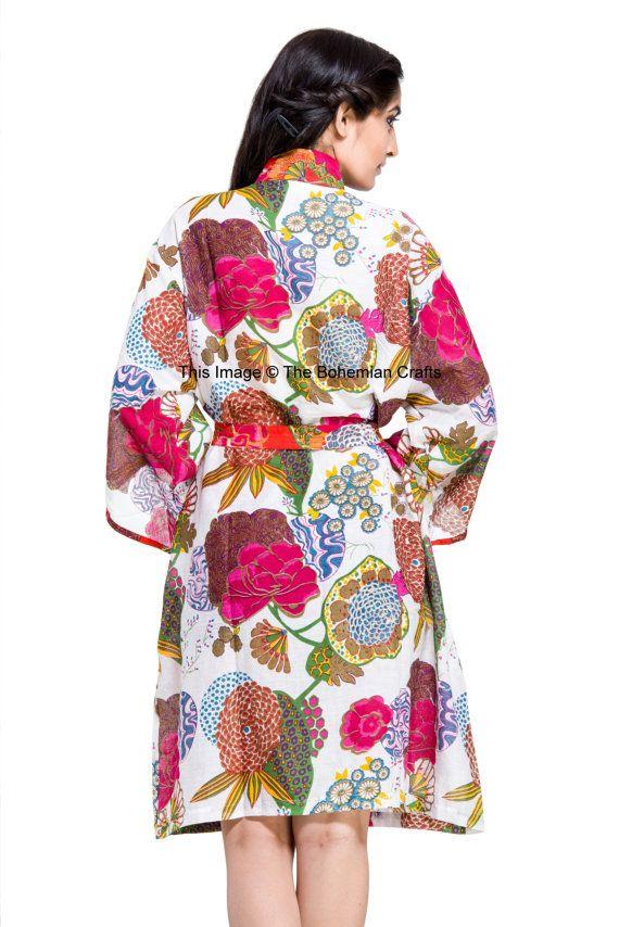 Robe de coton indien Robe à motifs de Kimono par Thebohemiancrafts