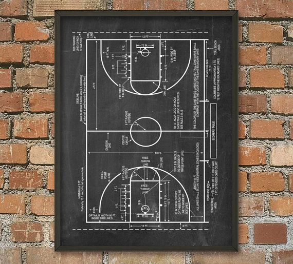 Basket-ball Cour impression basket schématique - diagramme de basket - basket NBA - Basketball-idée de cadeau - Basketball Art