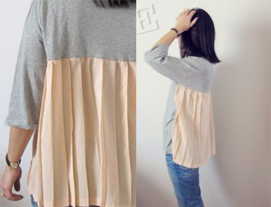 T-shirt + Skirt  This would be something that I would do and it would probably turn out horrible.