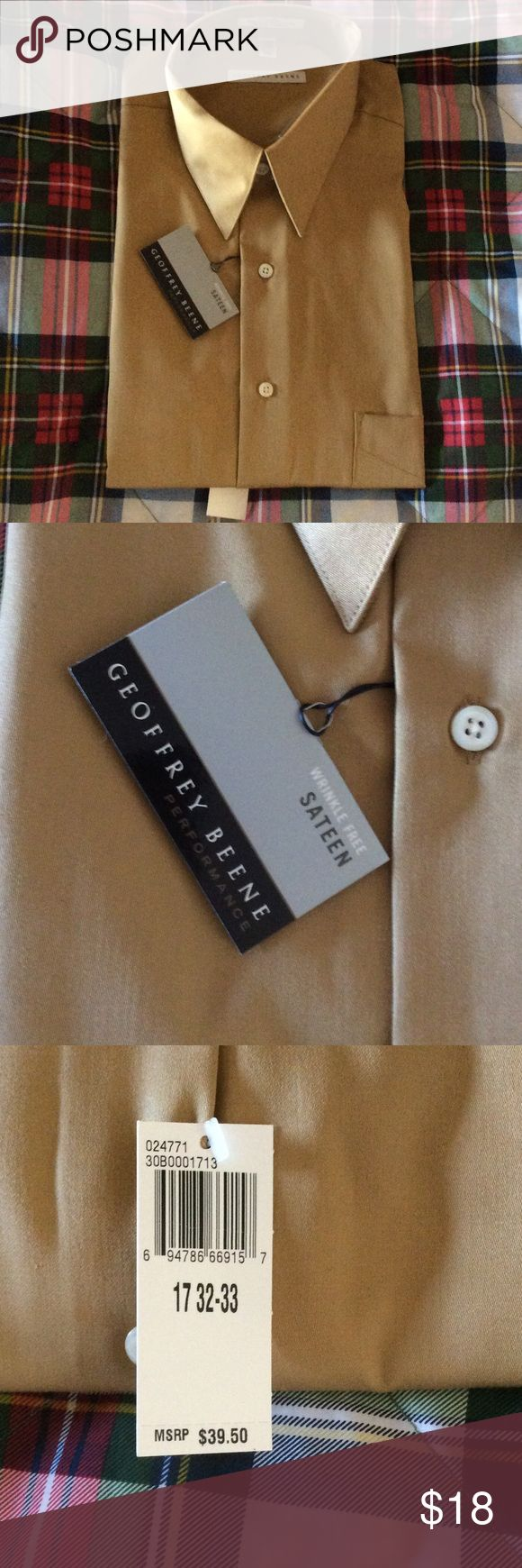 NWT Geoffrey Beene Wrinkle Free Sateen dress shirt Camel/gold tone brand new men's dress shirt wrinkle free sateen. Size 17 length 32/33 Geoffrey Beene Shirts Dress Shirts