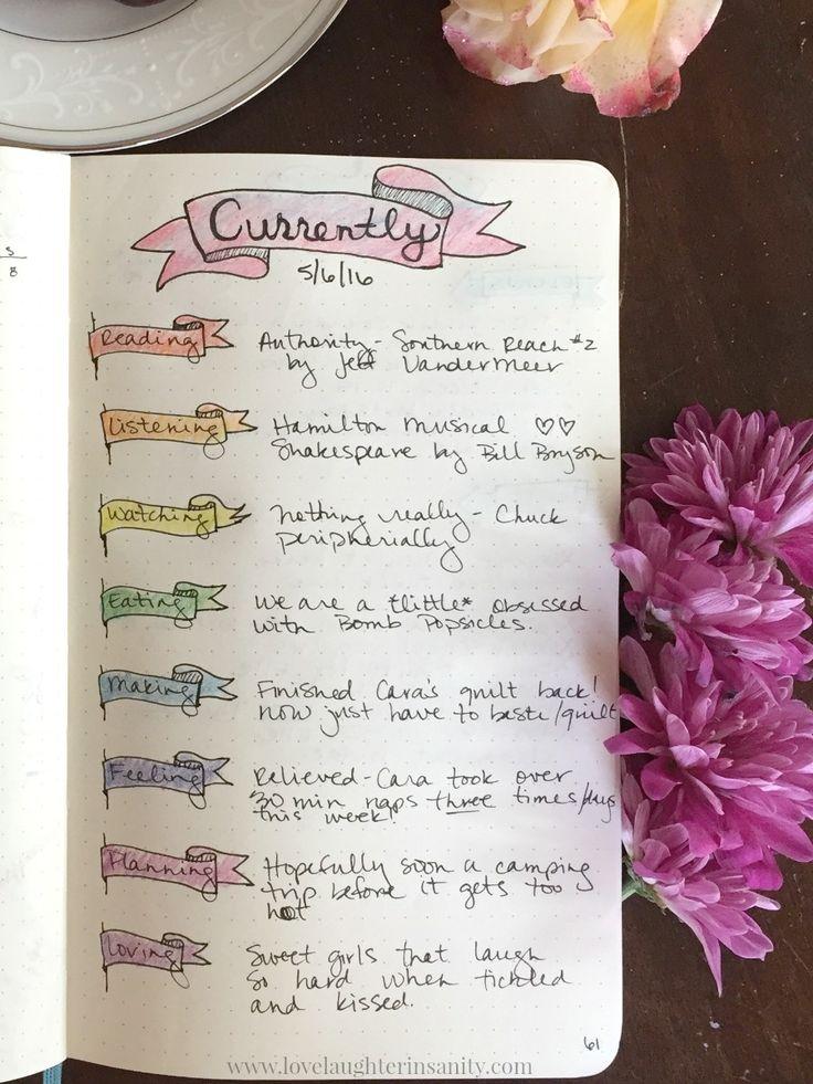 """Nette Idee mit dem """"currently"""", sollte ich vielleicht auch in mein bullet Journal aufnehmen"""