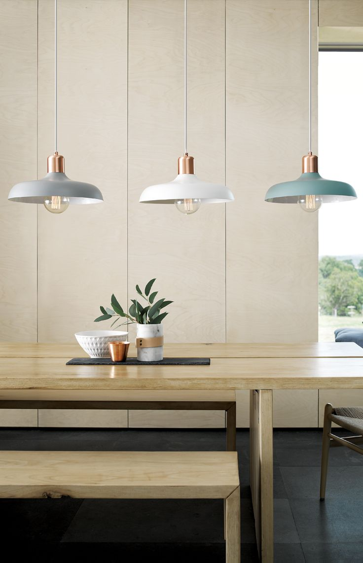 Croft 1 light metal pendant in ash, chalk or mint with brushed copper detail.