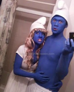 Easy last minute smurf costumes: Fun Costumes, Funny Halloween Costumes, Couple Costumes, Smurfs Costumes, Kids Costumes, Funny Kids, Costumes Ideas, Halloween Ideas, Homemade Halloween Costumes