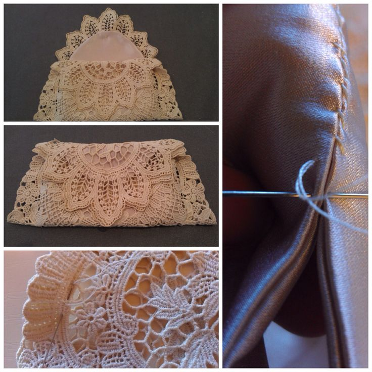 Vintage lace doily recycled into a bag. It is lined in satin which is hand sewn along the sides, using top stitch.
