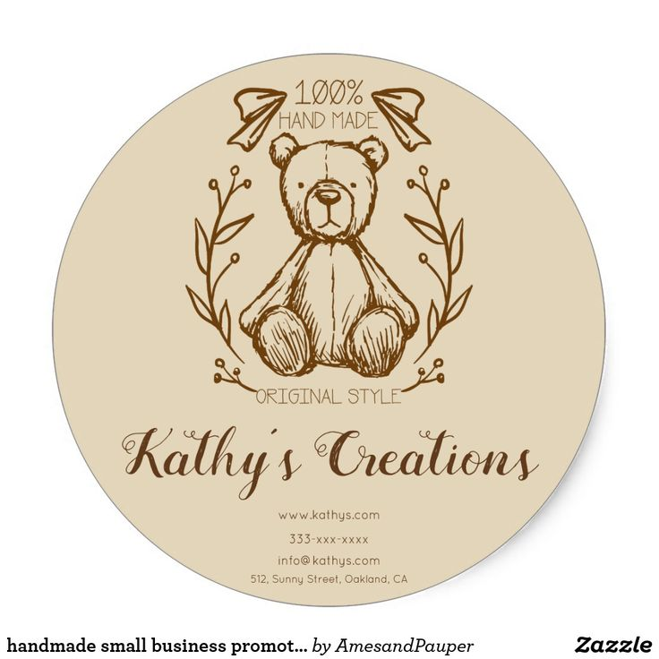 handmade small business promotion sticker by Ames and Pauper on Zazzle