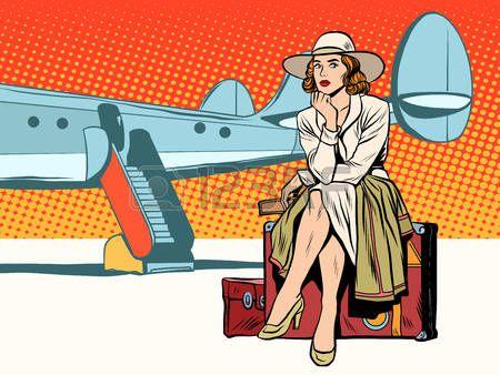 деловые поездки: Туристическая девушка сидит на чемодане, путешествия на самолете поп-арт стиле ретро. Путешествие и приключения. Тяжелый багаж.