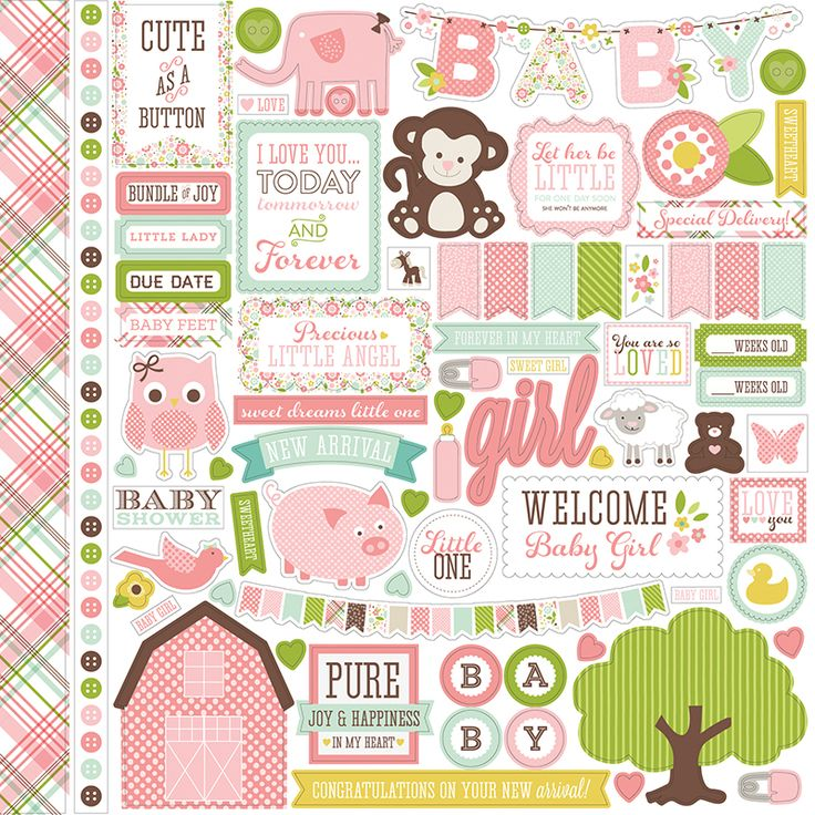 Echo Park - Bundle of Joy New Addition Collection - Girl - 12 x 12 Cardstock Stickers - Elements at Scrapbook.com