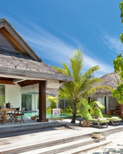 Naladhu Maldives ( Male, Maldives ) Naladhu Maldives: The intimate, secluded property is made up of 19 cottages. #Jetsetter #JSBeachDining