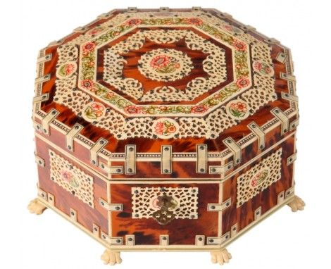 Vizagapatanain octagonal box of tortoise shell and ivory, late 19th century India.