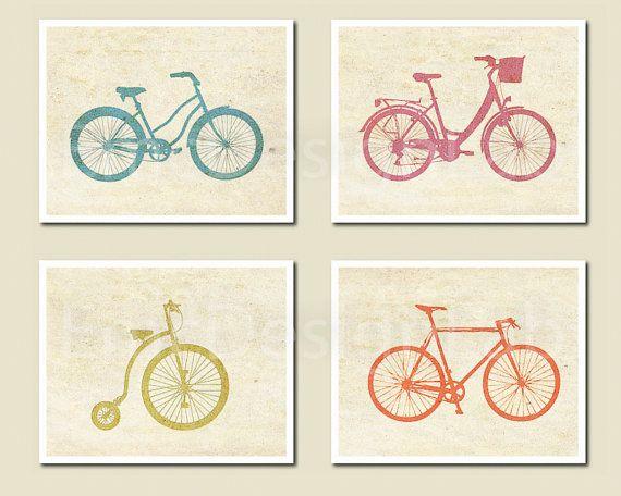 Bicycle Bike Art Print Set Poster Orange Aqua Green Pink Old Paper Textured. €39,63, via Etsy.