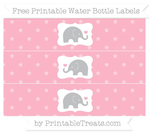 Pastel Light Pink Star Pattern Baby Elephant Water Bottle Wrappers