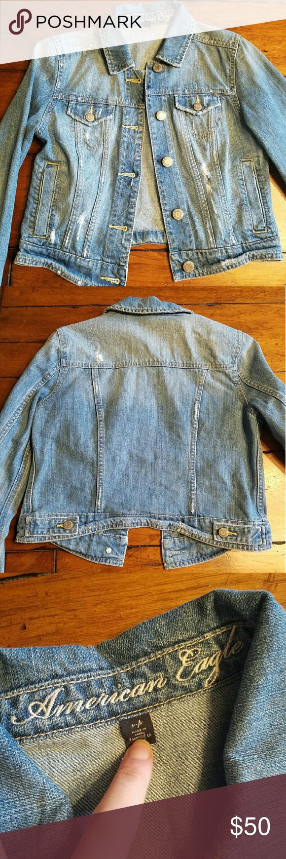 NWOT Distressed AE jacket NWOT Distressed AE jacket with silver buttons & four useable pockets. Never worn! Was a gift & I just dont wear jean jackets!   Entire closet is bogo 50% off or use the offer button! American Eagle Outfitters Jackets & Coats Jean Jackets