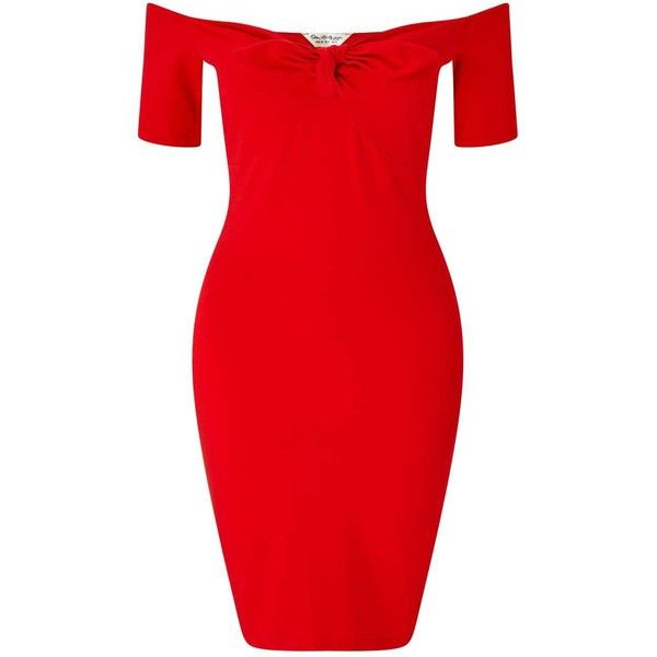 Miss Selfridge Red Tie Front Bardot Dress featuring polyvore, women's fashion, clothing, dresses, red, short dresses, short-sleeve maxi dresses, mini dress, body con dresses and short red dress