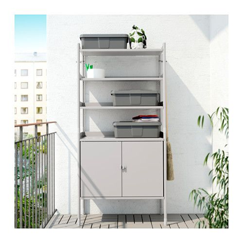 HINDÖ Shelf unit w/cabinet, in/outdoor  - Could use the bottom to store cat litter and the top to store towels.
