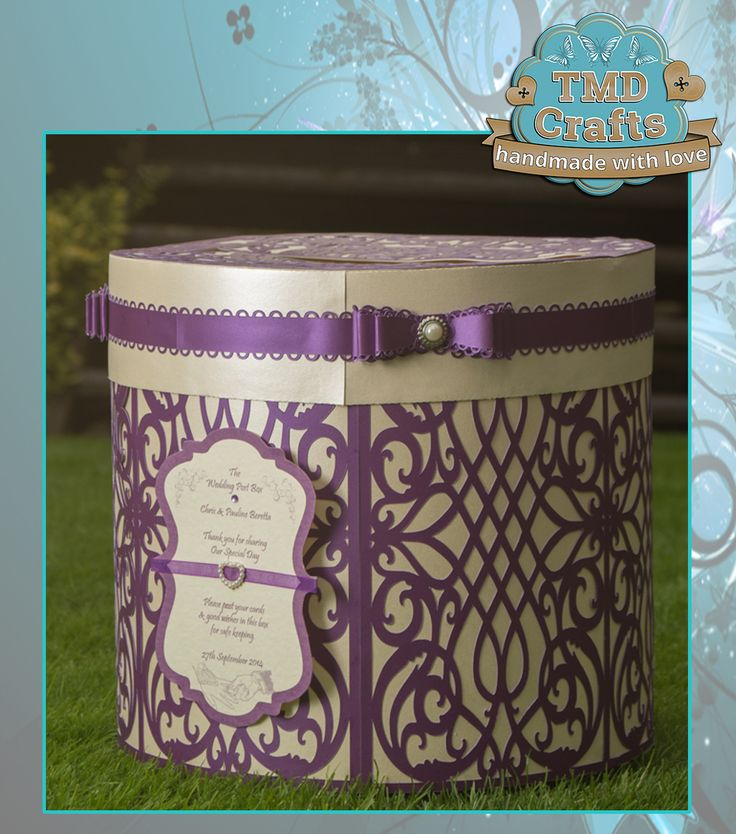 "Personalised Wedding Post Box Can be made to match colour scheme of wedding Approx 12"" in diameter & 12"" tall £28.95 plus p&p Please contact tmd-crafts@virginmedia.com to discuss your requirements x www.facebook.com/tmd-crafts #handmade #crafting #CraftersCavern #PCG #Postbox #Weddings"
