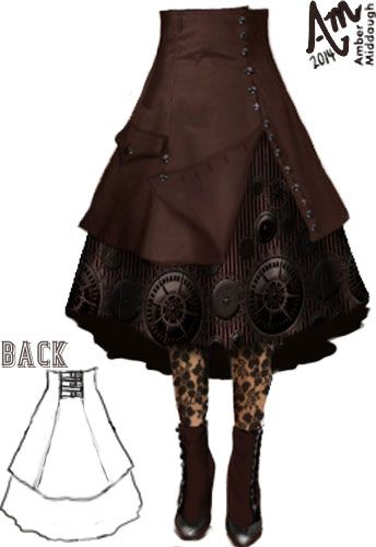 Steam Punk Gear Skirt by Amber Middaugh  ----$85( Design Auction- if it bids high enough ChicStar will make this design in the winners size ) Use my designer's coupon code for 30% off this  skirt or any ChicStar purchase. The code is: AMBER37