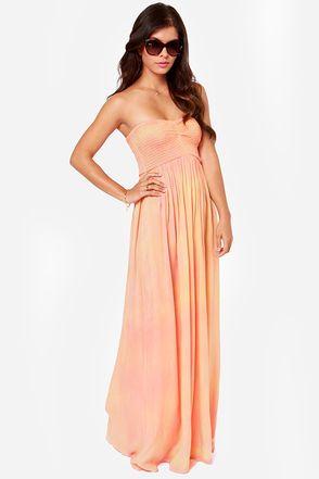 Strapless peach maxi dress
