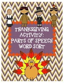 Thanksgiving Parts of Speech Activity