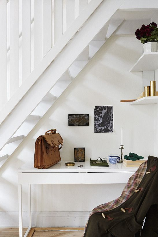hallway, under the stairs, desk, work space, home, studio, shelving, interior, white