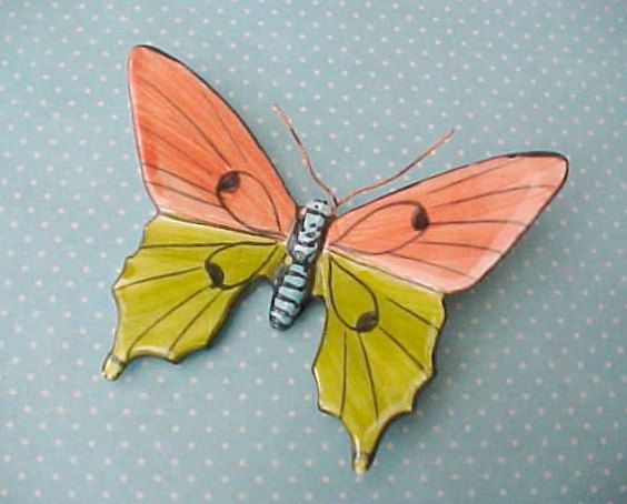 Portuguese Pottery Hand Painted Butterfly