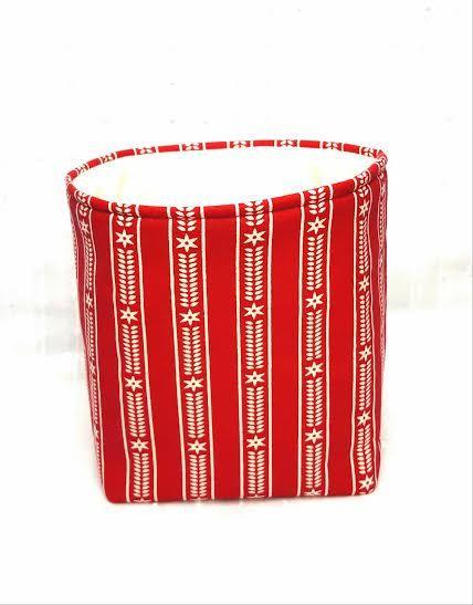 LARGE SCANDINAVIAN BASKET Red White Gift Bag Storage Organizer Bucket Cotton Natural Canvas Padded Handles Unique Handmade Fabric Box
