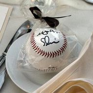 5 Sports Wedding Favor Ideas - Sports Wedding Ideas- Have the bride and groom initial the baseball. For Shaylah...
