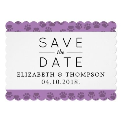 Save The Date Dog Paws Paw Prints Purple Card Wedding Invitations Cards Custom Invitation Design Marriage Party
