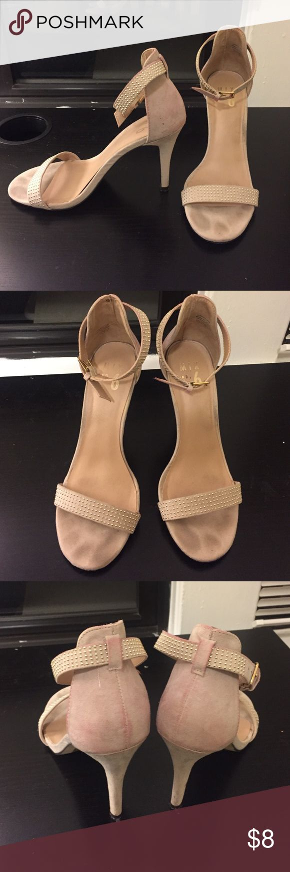 Strappy cream heeled sandals with gold studs Beautiful cream suede strappy heels with gold studs. Shoes only worn once. Slight suede discoloration from a previously worn dress but nothing a cleaning couldn't fix! Structurally in amazing shape. Mix No 6 Shoes Heels